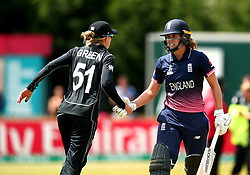 Natalie Sciver of England Women shakes hands with Maddy Green of New Zealand Women after getting out for 129 - Mandatory by-line: Robbie Stephenson/JMP - 12/07/2017 - CRICKET - The County Ground Derby - Derby, United Kingdom - England v New Zealand - ICC Women's World Cup match 21