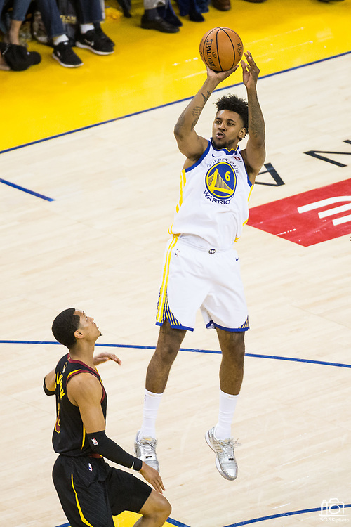 Golden State Warriors guard Nick Young (6) shoots the ball against the Cleveland Cavaliers during Game 1 of the NBA Finals at Oracle Arena in Oakland, Calif., on May 31, 2018. (Stan Olszewski/Special to S.F. Examiner)