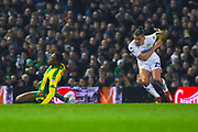 Kalvin Phillips of Leeds United (23) tackles Rekeem Harper of West Bromwich Albion (34) during the EFL Sky Bet Championship match between Leeds United and West Bromwich Albion at Elland Road, Leeds, England on 1 March 2019.