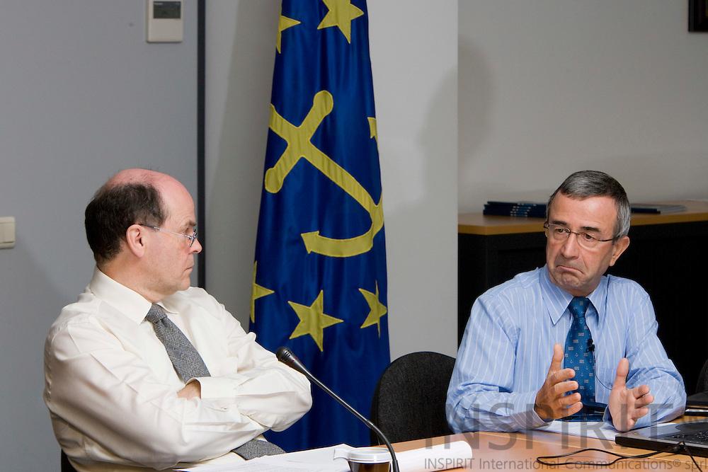 BRUSSELS - BELGIUM - 12 NOVEMBER 2008 -- From left Deputy Secretaries General Tim Marking and Secretary General Alfons GUINIER, European Community Shipowners' Associations (ECSA). Photo: Erik Luntang.