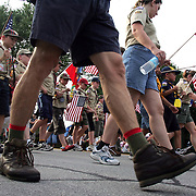 parade -des moines, july 3 -- Members of Cub Scout Pack 280 from Fairmeadows PFC march down Ashworth Blvd. in the annual Independence Day parade.  photo by david peterson  miDes Moines, Ia.