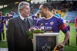 Drago Cotar, president of NK Maribor and Marcos Magno Morales Tavares of Maribor during celebration of his 500th match before football match between NK Maribor and ND Gorica in 22nd Round of Prva liga Telekom Slovenije 2018/19, on March 09, 2019 in Ljudski Vrt, Maribor, Slovenia. Photo by Blaž Weindorfer / Sportida