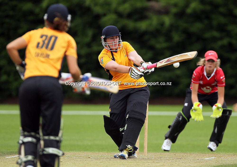 Megan Wakefield batting for Wellington. Canterbury Magicians v Wellington Blaze. Action Cricket Twenty20, womens cricket match, Lincoln No. 3, Lincoln University, Thursday 29 December 2011. Photo : Joseph Johnson / photosport.co.nz