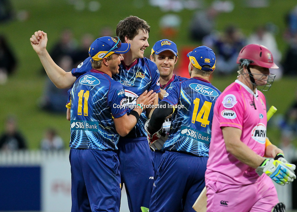 Otago Volt's Jacob Duffy celebrates after dismissing the Northern Knight's captain Scott Styris for a first ball duck during the HRV Cup - Northern Knights v Otago Volts, 2 November 2012.  Photo:  Bruce Lim / photosport.co.nz
