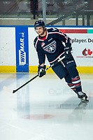 KELOWNA, BC - FEBRUARY 12: Jayden Platz #37 of the Tri-City Americans warms up on the ice against the Kelowna Rockets at Prospera Place on February 8, 2020 in Kelowna, Canada. (Photo by Marissa Baecker/Shoot the Breeze)