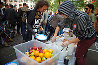Benny Zible of Nimbin Australia has lunch at the Occupy Wall Street Protest in Zuccotti Park in New York...Photo by Robert Caplin.
