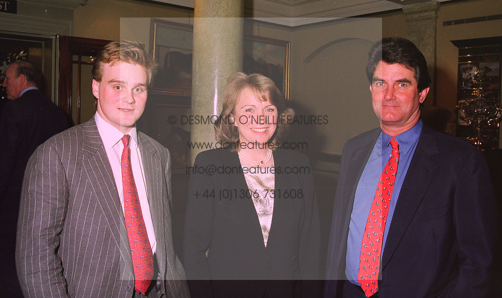 Left to right, VISCOUNT ANDOVER and VISCOUNT & VISCOUNTESS PETERSHAM, at a reception in London on 10th November 1997.MDD 14
