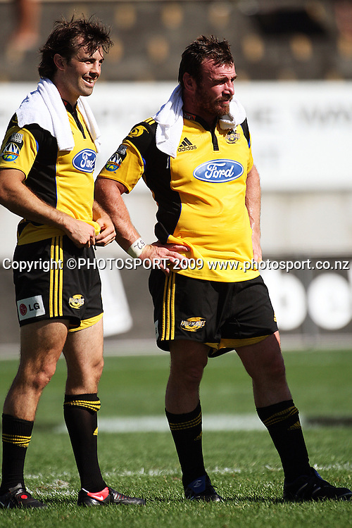 Conrad Smith and Andrew Hore reflect on the victory.<br /> Super 14 rugby union match, Hurricanes v Cheetahs at Yarrows Stadium, New Plymouth, New Zealand. Saturday 7 March 2009. Photo: Dave Lintott/PHOTOSPORT