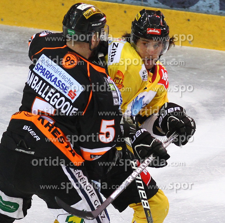 25.01.2013, Albert Schultz Eishalle, Wien, AUT, EBEL, UPC Vienna Capitals vs Graz 99ers, 2. Zwischenrunde, im Bild Dustin Van Ballegooie, (Graz 99ers, #5) und Tony Romano, (UPC Vienna Capitals, #8) // during the Erste Bank Icehockey League 2nd placement Round match betweeen UPC Vienna Capitals and Graz 99ers at the Albert Schultz Ice Arena, Vienna, Austria on 2013/01/25. EXPA Pictures © 2013, PhotoCredit: EXPA/ Thomas Haumer