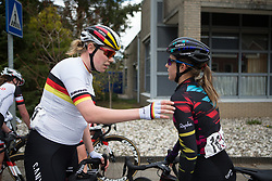 Mieke Kröger (GER) of CANYON//SRAM Racing thanks Alexis Ryan (USA) her hard work during Stage 4 of the Healthy Ageing Tour - a 126.6 km road race, starting and finishing in Finsterwolde on April 8, 2017, in Groeningen, Netherlands.