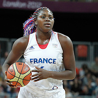 30 July 2012: Isabelle Yacoubou of France looks to pass the ball during the 74-70 Team France overtime victory over Team Australia, during the women's basketball preliminary, at the Basketball Arena, in London, Great Britain.