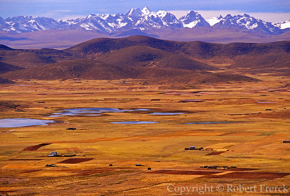BOLIVIA, ALTIPLANO view across the 14,000 foot high altiplano toward the peaks of the Cordillera Real mountain range south of La Paz