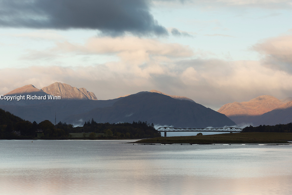 Looking to Ballachulish Bridge ar dawn to the Ardgour range beyond.