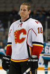 March 23, 2011; San Jose, CA, USA;  Calgary Flames right wing Tim Jackman (15) warms up before the game against the San Jose Sharks at HP Pavilion. San Jose defeated Calgary 6-3. Mandatory Credit: Jason O. Watson / US PRESSWIRE