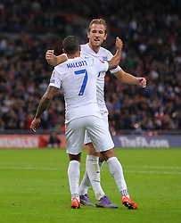 Theo Walcott ( L ) of England celebrates with Harry Kane after he scores the opening goal - Mandatory byline: Paul Terry/JMP - 07966 386802 - 09/10/2015 - FOOTBALL - Wembley Stadium - London, England - England v Estonia - European Championship Qualifying - Group E