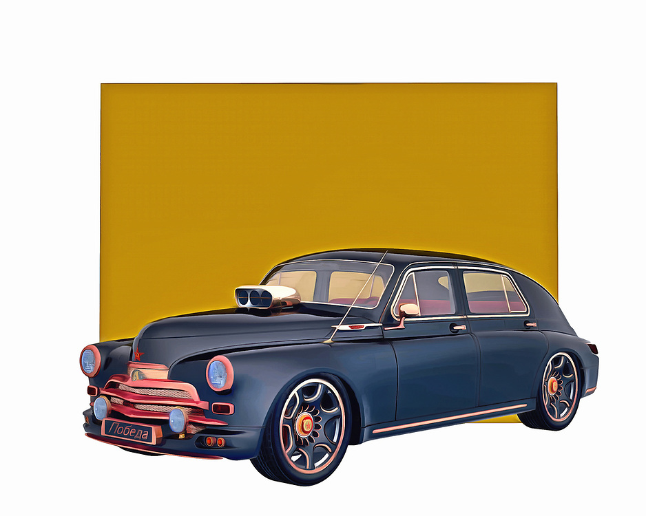 A classic design with a great deal of history behind it, this digital painting from Jan Keteleer is a grand example of the sorts of cars that defined the 1940s and 1950s. They simply do not make cars as simple and refined as this one. It is a true powerhouse in every sense of the word. .<br /> <br /> BUY THIS PRINT AT<br /> <br /> FINE ART AMERICA<br /> ENGLISH<br /> https://janke.pixels.com/featured/gaz-m-20v-1946-jan-keteleer.html<br /> <br /> <br /> WADM / OH MY PRINTS<br /> DUTCH / FRENCH / GERMAN<br /> https://www.werkaandemuur.nl/nl/shopwerk/Klassieke-auto---Oldtimer-Gaz-M-20V-1946/435440/134
