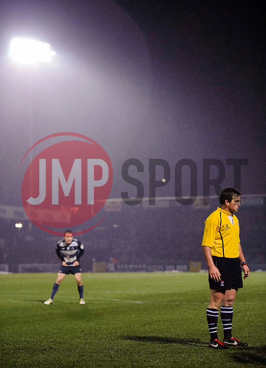 referee JP Doyle looks on during the second half of the match - Photo mandatory by-line: Rogan Thomson/JMP - Tel: Mobile: 07966 386802 25/01/2013 - SPORT - RUGBY - Memorial Stadium - Bristol. Bristol v Leeds Carnegie - RFU Championship.
