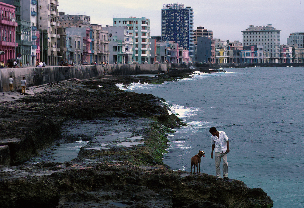 A view along the Malecon, Havana's curved promenade on the Caribbean.