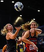 Casey Kopua of the Magic takes a ball from Kate Beveridge of the Tactix during the ANZ Premiership Netball match, Tactix V Magic, Horncastle Arena, Christchurch, New Zealand, 6th June 2018.Copyright photo: John Davidson / www.photosport.nz