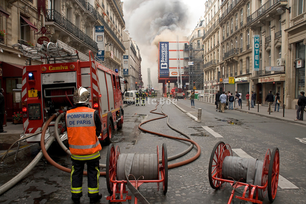 a large fire in a residential street in Paris