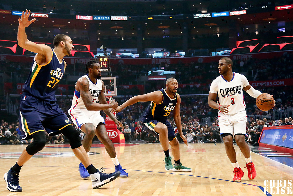 25 March 2016: Utah Jazz center Rudy Gobert (27), LA Clippers center DeAndre Jordan (6), Utah Jazz center Boris Diaw (33), and LA Clippers guard Chris Paul (3) are seen during the Los Angeles Clippers 108-95 victory over the Utah Jazz, at the Staples Center, Los Angeles, California, USA.