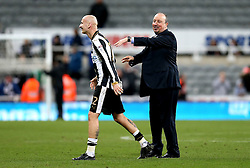 Newcastle United manager Rafa Benitez congratulates Jonjo Shelvey of Newcastle United after the win over Aston Villa - Mandatory by-line: Robbie Stephenson/JMP - 20/02/2017 - FOOTBALL - St James Park - Newcastle upon Tyne, England - Newcastle United v Aston Villa - Sky Bet Championship