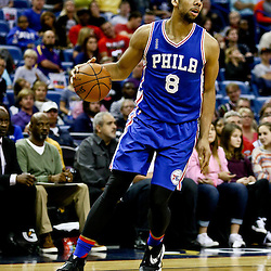 Feb 19, 2016; New Orleans, LA, USA; Philadelphia 76ers center Jahlil Okafor (8) against the New Orleans Pelicans during the second half of a game at the Smoothie King Center. The Pelicans defeated the 76ers 121-114. Mandatory Credit: Derick E. Hingle-USA TODAY Sports