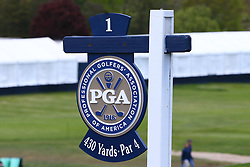 May 15, 2019 - Farmingdale, NY, U.S. - FARMINGDALE, NY - MAY 15: A general view of the Hole 1 sign during the PGA Championship on May 15, 2019 at Bethpage State Park the Black Course in Farmingdale, NY.  (Photo by Rich Graessle/Icon Sportswire) (Credit Image: © Rich Graessle/Icon SMI via ZUMA Press)