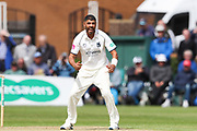 Jeetan Patel of Warwickshire appeals unsuccesfully during the Specsavers County Champ Div 1 match between Yorkshire County Cricket Club and Warwickshire County Cricket Club at York Cricket Club, York, United Kingdom on 17 June 2019.