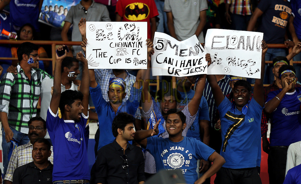 Fan's enjoy's during match 50 of the Hero Indian Super League between Chennaiyin FC and FC Goa held at the Jawaharlal Nehru Stadium, Chennai, India on the 5th December 2014.<br /> <br /> Photo by:  Sandeep Shetty/ ISL/ SPORTZPICS