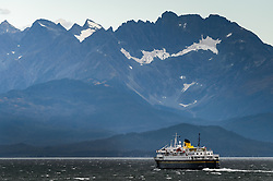The Alaska Marine Highway ferry, M/V Malaspina makes its way north on the Lynn Canal from Juneau to Haines, Alaska.