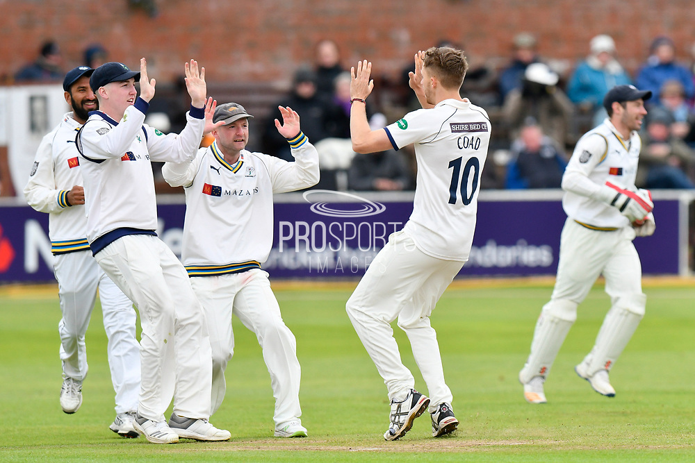 Wicket -  Ben Coad of Yorkshire celebrates taking the wicket of George Bartlett of Somerset during the third day of the Specsavers County Champ Div 1 match between Somerset County Cricket Club and Yorkshire County Cricket Club at the Cooper Associates County Ground, Taunton, United Kingdom on 29 April 2018. Picture by Graham Hunt.