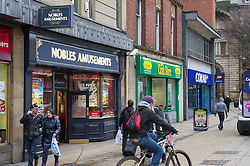 High Street betting shops, cash loan stores and amusement arcades can add to personal debt, Fitzalan Square, Sheffield