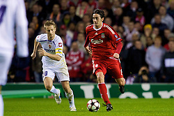 LIVERPOOL, ENGLAND - Wednesday, December 9, 2009: Liverpool's Alberto Aquilani, making his first start for the Reds, in action against AFC Fiorentina during the UEFA Champions League Group E match at Anfield. (Photo by David Rawcliffe/Propaganda)