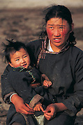 Nomad woman with child<br /> Central Mongolia