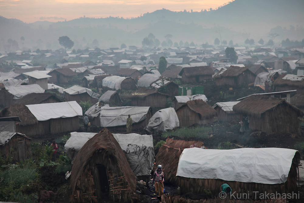 Mungote camp for IDPs (Internally Displaced Persons) in Kichanga, 70km north of Goma, DRC on April 25, 2010. The long war had involved 9 African nations and claimed an estimated three million lives as a result of fighting or disease and malnutrition..Photo by Kuni Takahashi