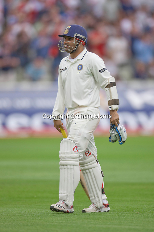Virender Sehwag walks off caught for nought during the third npower Test Match between England and India at Edgbaston, Birmingham.  Photo: Graham Morris (Tel: +44(0)20 8969 4192 Email: sales@cricketpix.com) 12/08/11