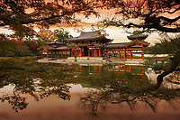 Colorful red sunset scenery of the Phoenix Hall, Amida hall or Hoo-do of Byodoin Buddhist temple amidst Jodoshiki teien, Pure Land garden pond visible thorugh tree branches. Uji, Kyoto Prefecture, Japan 2017