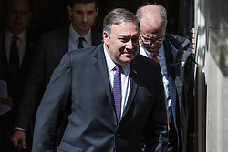 London, UK. 8 May, 2019. US Secretary of State Mike Pompeo leaves 10 Downing Street following a meeting with Prime Minister Theresa May and proceeds to the Foreign Office for a meeting with Foreign Secretary Jeremy Hunt.