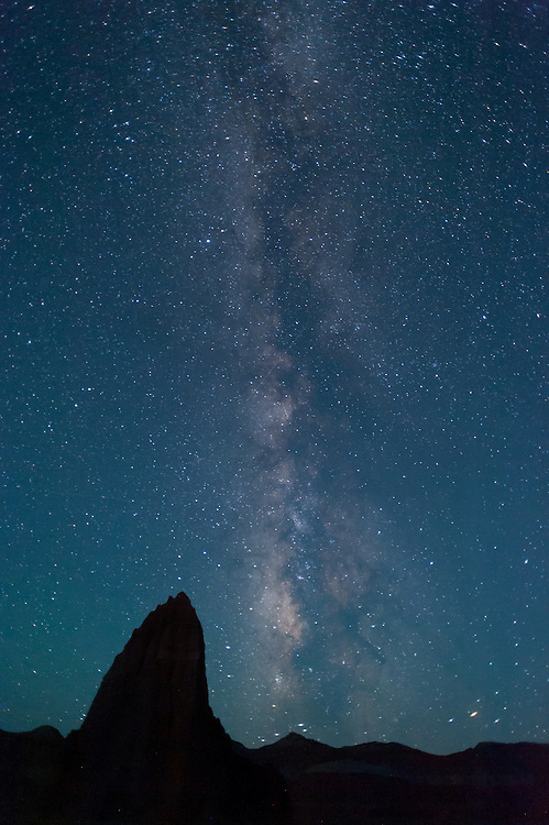Temple of the Sun, in the Cathedral Valley in Capitol Reef National Park, sits beneath the Milky Way in the early morning hours on a summer's morning.