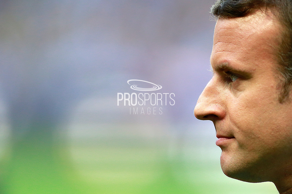 French President Emmanuel Macron smiles during the French Top 14 rugby union final match between RC Toulon and ASM Clermont-Ferrand on June 4, 2017 at the Stade de France in Saint-Denis.