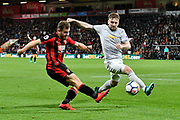 Ryan Fraser (24) of AFC Bournemouth crossed the ball as Luke Shaw (23) of Manchester United stretches to block the ball during the Premier League match between Bournemouth and Manchester United at the Vitality Stadium, Bournemouth, England on 18 April 2018. Picture by Graham Hunt.