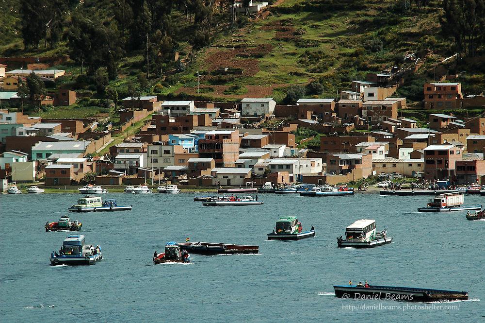 Boats in the Tiquina canal, Lago Titicaca, La Paz, Bolivia