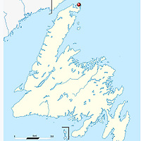 Map of L'Anse aux Meadows area