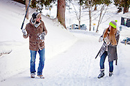 Couple, Snowball Fight, Fun, Enjoyment, Playful