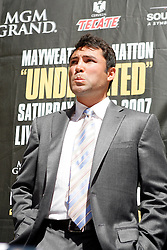 September 19, 2007; New York, NY, USA; Oscar DeLaHoya at the press conference announcing the bout between World Welterweight Champion Floyd Mayweather Jr and World Junior Welterweight Champion Ricky Hatton.  The fight will take place on December 8, 2007 at the MGM Grand Garden Arena in Las Vegas, Nevada.
