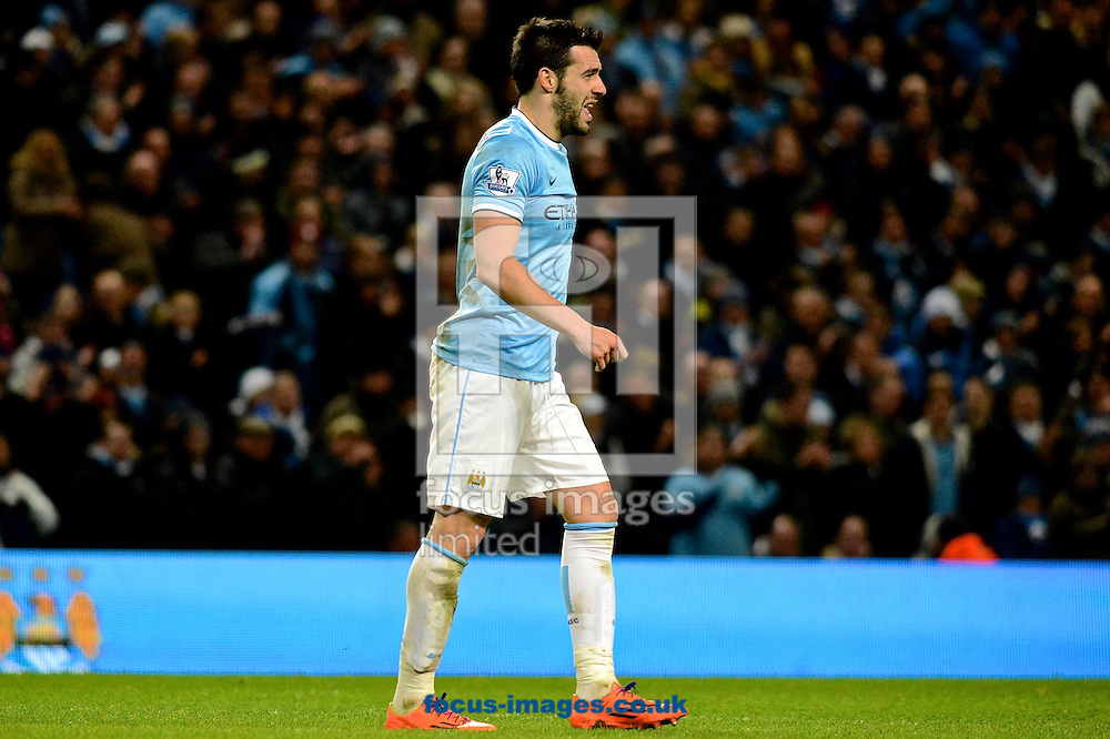 Picture by Ian Wadkins/Focus Images Ltd +44 7877 568959<br /> 26/12/2013<br /> &Aacute;lvaro Negredo of Manchester City leaves the field after being substituted during the Barclays Premier League match at the Etihad Stadium, Manchester.