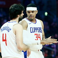 04 March 2018: LA Clippers forward Tobias Harris (34) talks to LA Clippers guard Milos Teodosic (4) during the LA Clippers 123-120 victory over the Brooklyn Nets, at the Staples Center, Los Angeles, California, USA.