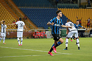 Inter's Italian defender Alessandro Bastoni celebrates after scoring a late header to give the side a 2-1 lead during the Serie A match at Stadio Ennio Tardini, Parma. Picture date: 28th June 2020. Picture credit should read: Jonathan Moscrop/Sportimage