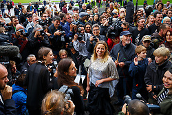 © Licensed to London News Pictures. 26/08/2015. London, UK. Singer Charlotte Church performs outside Shell's London HQ to protest against Arctic drilling on Wednesday, August 26, 2015. Photo credit: Tolga Akmen/LNP